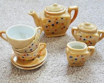 Vintage miniature tea set, hand painted mini tea set, japanese tea set, mini tea set, made in Japan, miniatures