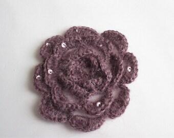 Small purple flower dark crochet mohair with some glitter.