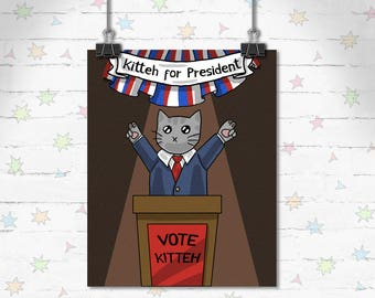 Presidential Cat Art, Funny Cats, Children's Decor, Kids Room, Cute Art, Kitty art, Decor, Art Print, Giclee Print, Archival Print, Election