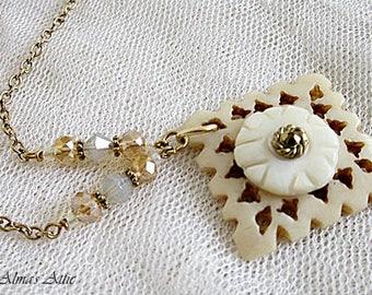 Shell Button Necklace, Button Necklaces, Vintage Button Pendant, Button Jewelry, Carved Button Pendant, Open-Weave Button Necklace, Buttons