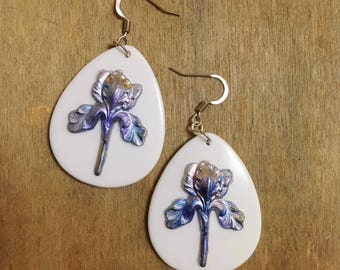 Iris Flower, plant, The rainbow flower, Romantic, Vintage style, Silver, Symbolic, royalty, Best friend, Mother's day, Mom Gift, Valentines