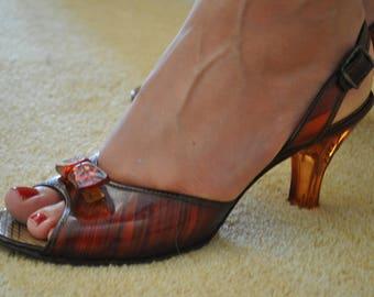Vintage Lucite Heels // Rootbeer Wood Effect 1950's Lucite Shoes // Cammeyer Shoes // Sling Back Heels // UK 4, US 6.5, EU 37
