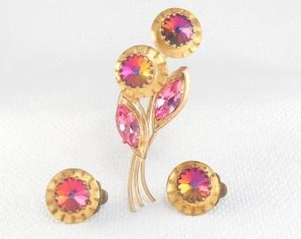 Vintage 1950s Austria Rivoli Crystal Flower Brooch and Earrings Set Austria Pink Crystal Flower Set Mid Century Austria Demi Parure