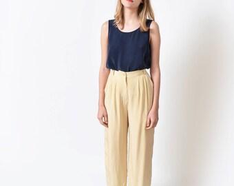 Cream Silk Trousers Vintage High Waist Wide Leg Pants 27 S