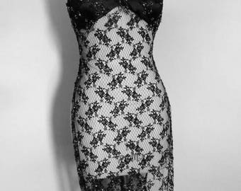 Beaded Lace Dress, Slip Dress, Sheer Lace Gown, 1930s, Black Negligee, Goth, 30s Lingerie, Dressing Gown, Burlesque, Size 4, Womens Vintage