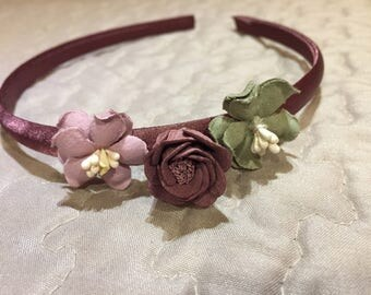 Mauve and green floral hair headband