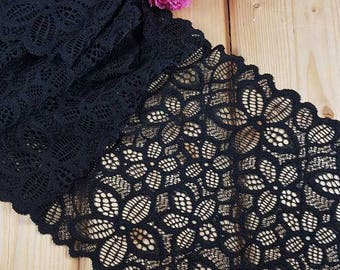 19 cm wide stretch lace in 4 colours sold by the meter