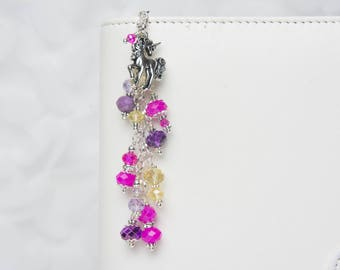 Unicorn Planner Charm- Travelers Notebook Charm with Bright Pink, Purple and Yellow Crystals