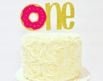 Donut themed One Cake Topper / Donut Grow up / Multiple Colors Available