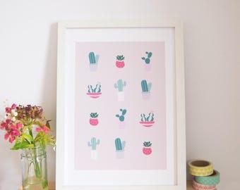 Cactus Print / Cactus Illustration / Succulent Art Print / Cacti Art / Dorm Decor / Wall Art