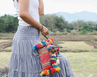 Vintage Hmong Hill Tribe Embroidered Clutch with Colorful Hairs and Pom Pom for Women, Boho Clutch Bag, Bohemian Purse in Blue  - BG521VORG