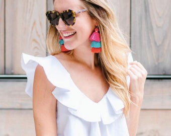 Triple Tiered Stacked Tassel Earrings by Genie Mack