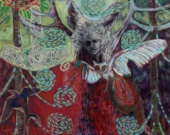 Shapeshifter. Norse Mythology, Thor's hammer, Twilight, Antlers, Forest, Magical, Freyja, Owl, Stag, Wolf, Asatru.