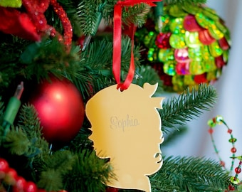 Child Silhouette Mirrored Acrylic Ornament - Girl or Boy - Christmas Decor