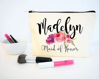 Maid of Honor Gift, Monogram Cosmetic Bag, Make Up Bag, Personalized Gift, Floral Makeup Bag, Maid of Honor Thank You, Wedding Gift, Bride