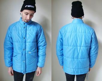 BLUE PADDED COAT -puff jacket, sky, pastel, club kid, vaporwave, cyber, sad boys, 90s, large, seapunk, warm, winter, cute-