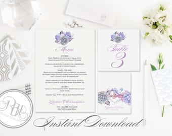 Lilac Purple Mint Menu, Table Number, Place Card Templates-INSTANT DOWNLOAD-DIY Editable Text-Purple Mint Succulents-Alice in White