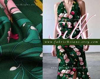 Green Silk Crepe floral printed Christmas green silk by the yard