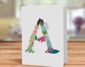 Monogram card, Floral Ini...