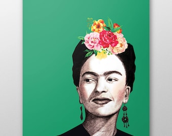 Frida Kahlo canvas, frida kahlo drawing,  Frida Kahlo Art, Frida Kahlo Portrait, Frida Kahlo Poster, Frida Kahlo Print, Canvas wall art