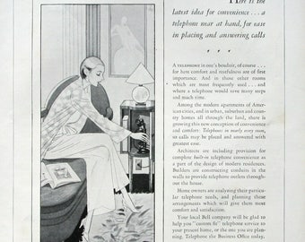 1929 Bell System Telephone Ad - Elegant Woman - AT&T Ad - 1920s Phone Ads