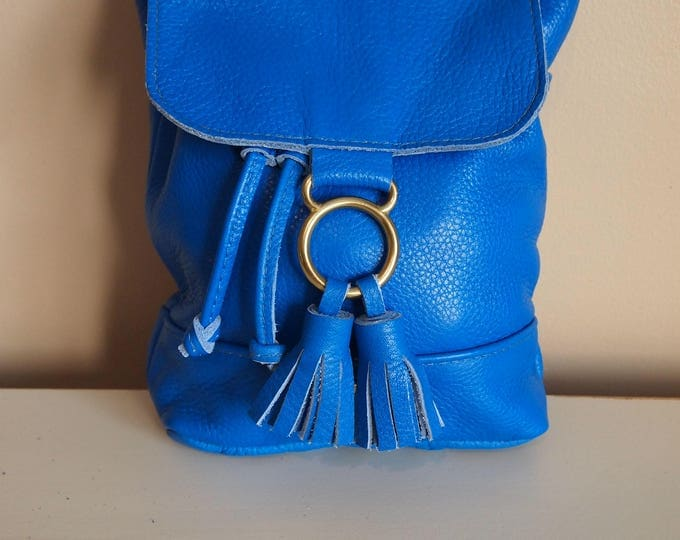 Evie Backpack,  Handmade Small Drawstring Leather Backpack with Flap. Bright Blue