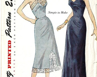 Vintage 50s Simplicity 3387 Sewing Pattern for Misses Simple to Make Slip in Day Time and Evening Lengths sz 14 Bust 32