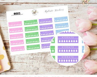 Hydrate Planner Stickers | Two Dollar Tuesday | Planner Stickers | Fitness Stickers | Funtional Stickers | Water Tracker | Water Icons