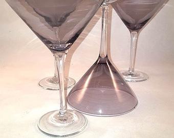 Set of 4  Large Amethyst / Purple Martini Glasses