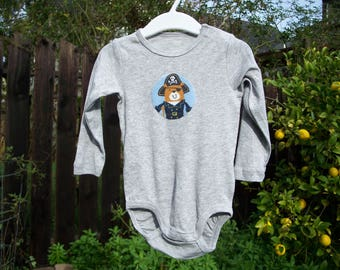Pirate Bear Appliqued Grey Long Sleeved Bodysuit, 6-9 M