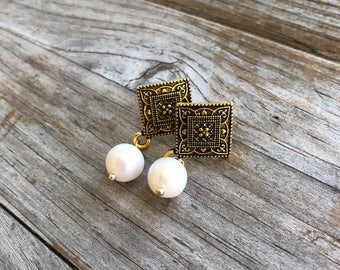 Art Deco Freshwater Pearl Earrings, Gold Earrings, Pearl Earrings, Christmas Gifts, Gift for Wife, Gift for Girlfriend, Gifts for her