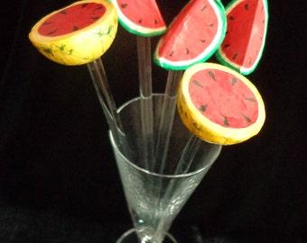 Watermelon Swizzle Sticks Melon Stir Sticks Set of 5 Swizzle Sticks