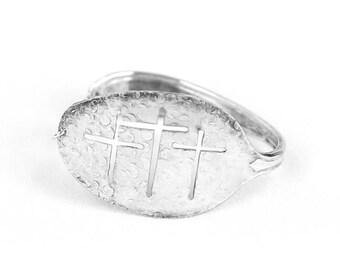 Cross- Silverware Cuff Bracelet - Something Old - Hand Stamped Spoon - Spoon Bracelet - Inspirational-Bangle-Calvery Cross Bracelet-Spoonie