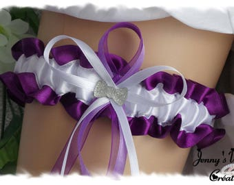 Wedding garter ash Violet/white splash of purple