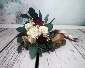 Small Boho Bridesmaid Wedding Bouquet Dark Wine Ivory Sola Flowers Preserved Eucalyptus Gypsophila Dried Vintage
