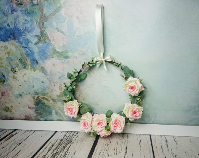Wedding rustic greenery wreath centerpiece hanging backdrop decor floral arrangement country barn wedding pink roses romantic simple cheap