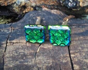 Set of Cuff Links/Dichroic Glass Cuff Links/Blue Dichroic Glass Cuff Links/Fish Scale Green Dichroic Cuff Links/Unisex Dress Cuff Links