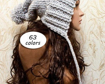Chunky Knit Hat Women Gray Hat Gray Beanie - Charlotte Slouchy Ear Flap Hat - Cap pompom - Knit Accessories Gift For Her - 63 Color Choices