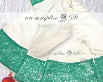 Satin Christmas Tree Skirt, Design your Custom Tree Skirt, Satin Stocking