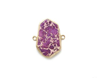 Purple Variscite Connector - Gold plated Bezel - 1pc