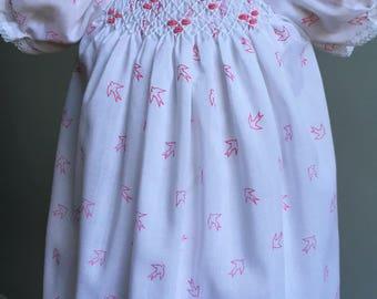 Vintage Baby Dress, Vintage Smocked Bishop Dress