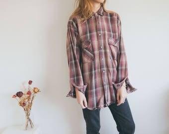Vintage Red Flannel Shirt, Checkered Shirt, Unisex Skirt, Plaid Shirt, Lumberjack Shirt