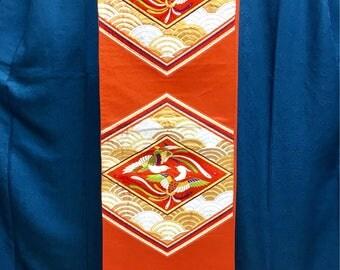 "OBI Fukuro obi ""Chinese Phoenix in lozenge ""Nishijin brilliant fabric  Japanese kimono obi formal party tea ceremony"