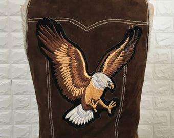 Take It Easy vintage leather & sherpa vest