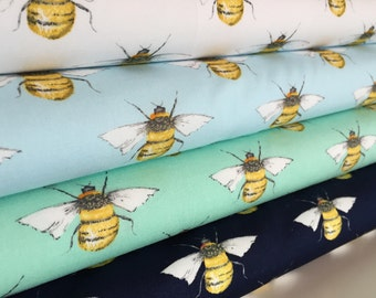 Bumble Bee 100% Cotton Poplin Fabric **Honey Bee Cotton Material**