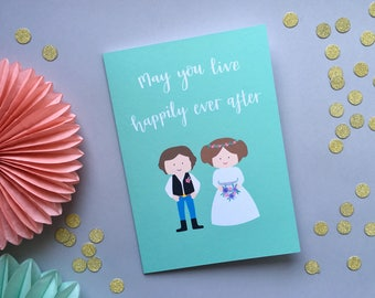 Star Wars Wedding Card, Han Solo and Princess Leia, Star Wars Card, I Love You I Know, Unusual Wedding Card, Personalised Wedding Card