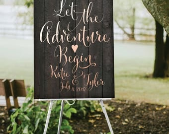 DARK Wood Plank Wedding Quote Sign . Let the Adventure Begin White & Blush Calligraphy Heart . PRINTED Heavy Paper • Foam Board • Canvas
