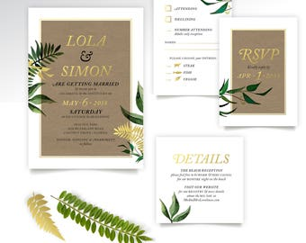 Eucalyptus Rustic Palm Leaf Wedding Invite Set . Craft Brown Paper Botanical Green Forest Vine Fern Garland Dandelion Gold Foil Black White