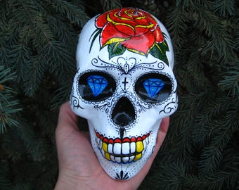 Sugar Skull, Mexican Skull, Tattoo Skull, Ink Skull, Chicano, Mexico, Rose, Roses, Diamond, Day of the Dead, Latin, Calavera, MADE TO ORDER