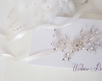 Wedding Belt, Beaded Bridal Sash, Beaded Wedding Belt, Silver Crystal, Bridesmaid Belt - Style 794